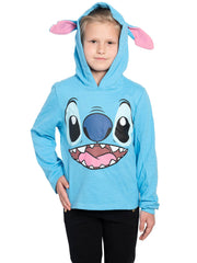 Disney Kids Girls Stitch Sweater Hoodie 3D Ears Face Costume Pullover Blue