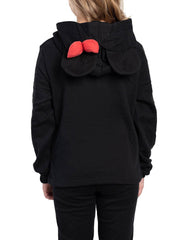 Disney Girls Minnie Mouse 3D Ears & Bow Pullover Sweater Hoodie Black