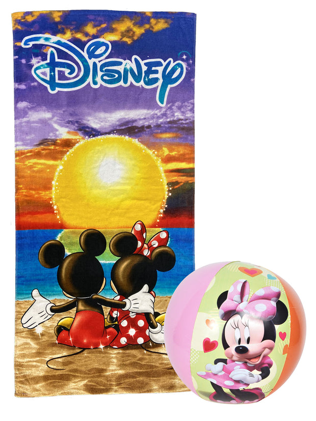 "Disney Mickey And Minnie Pool Beach Towel Sunset w/ 13.5"" Inflatable Ball"