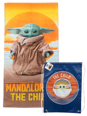 Star Wars Baby Yoda Pool Beach Towel 58x28 w/ The Child Drawstring Sling Bag