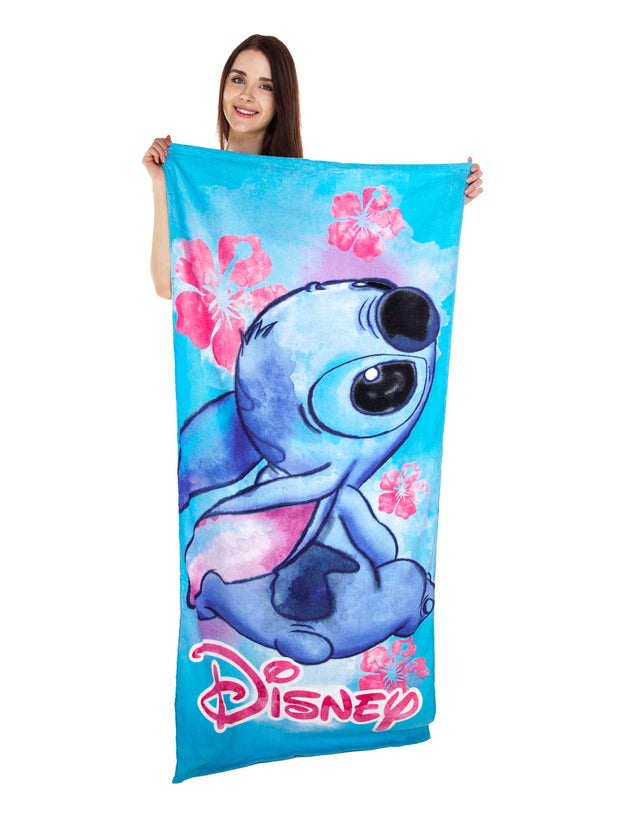 Stitch Floral Cotton Beach Towel 58x28 & Large Mickey Tote Bag 2Pc