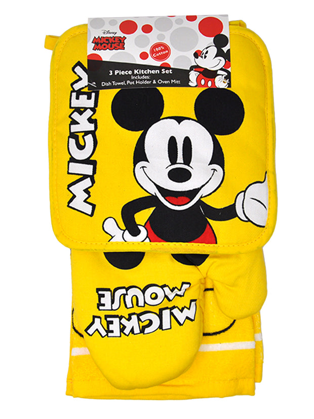 Disney Mickey Mouse 4 Pc Kitchen Set Towels Pot-Holder Over Mitt Yellow