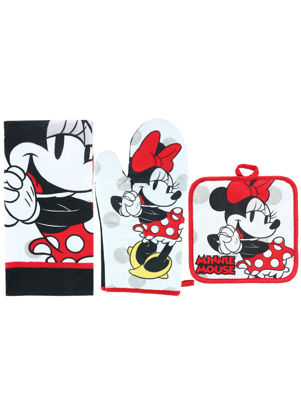 Disney Minnie Mouse 4-Piece Kitchen Set Dish Towels Pot-Holder Oven Mitt Red