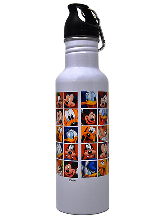 Disney Mickey Mouse & Friends Water Bottle Wide Mouth White Aluminum