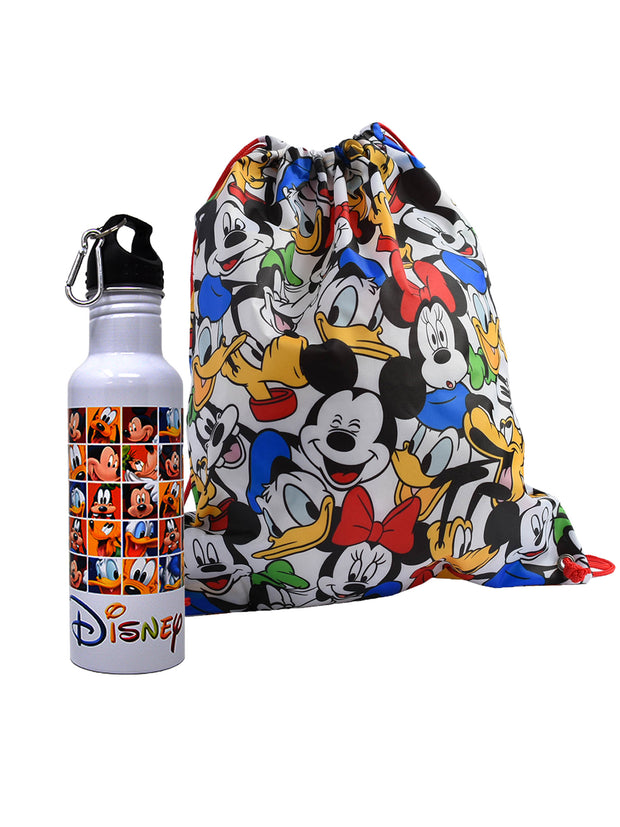 Mickey Mouse & Friends Aluminum Water Bottle & Drawstring Sling Bag 2-Piece Set
