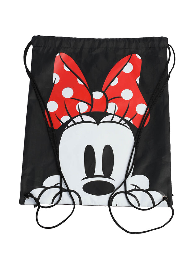 Minnie Mouse Drawstring Sling Cinch Bag Tote Black 15.5""
