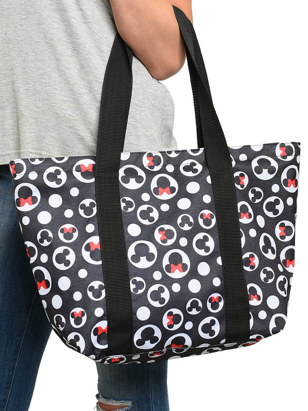 Mickey Mouse Women's Tote Bag Minnie Icon Zippered Black Travel Handbag