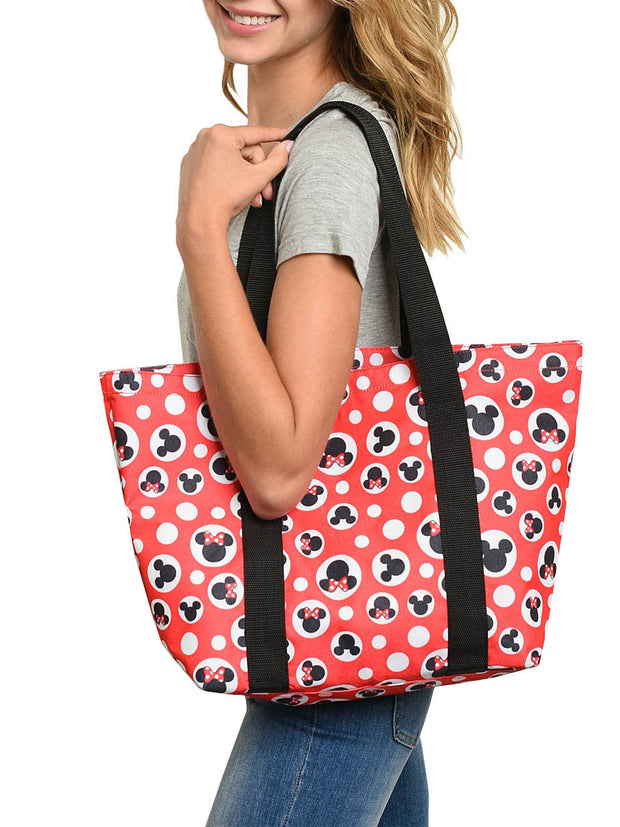 Disney Mickey & Minnie Mouse Women's Zip Tote Bag Red Polka Dots