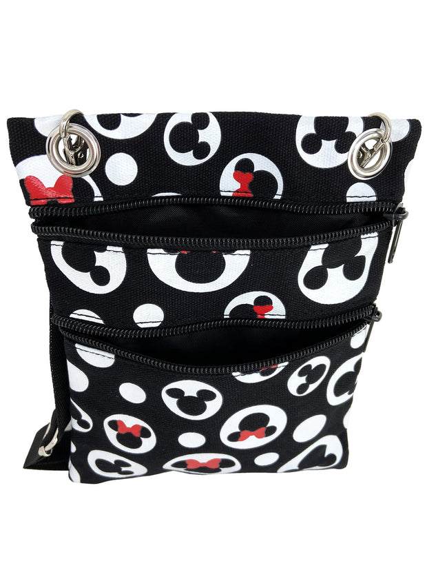 Disney Mickey & Minnie Mouse All-Over Print Passport Bag Travel Crossbody Purse
