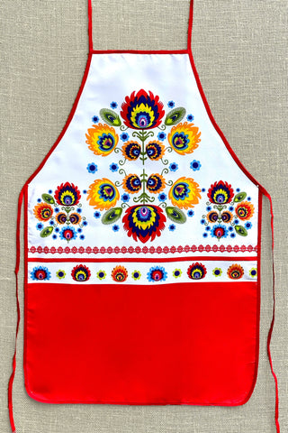 Red & White Polish Folk Apron