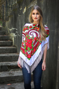 White Square Slavic Folk Scarf