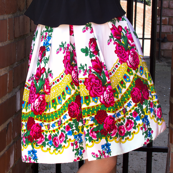 White Annette Slavic Folk Skirt