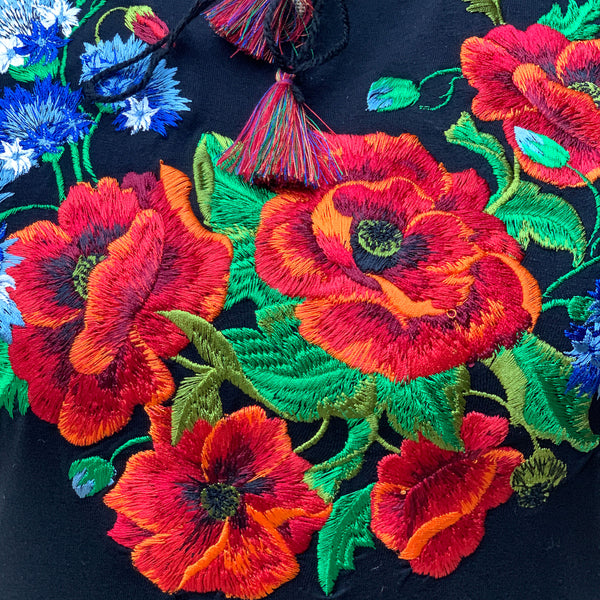 Embroidered Poppy Top