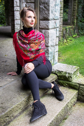 Red Square Slavic Folk Scarf