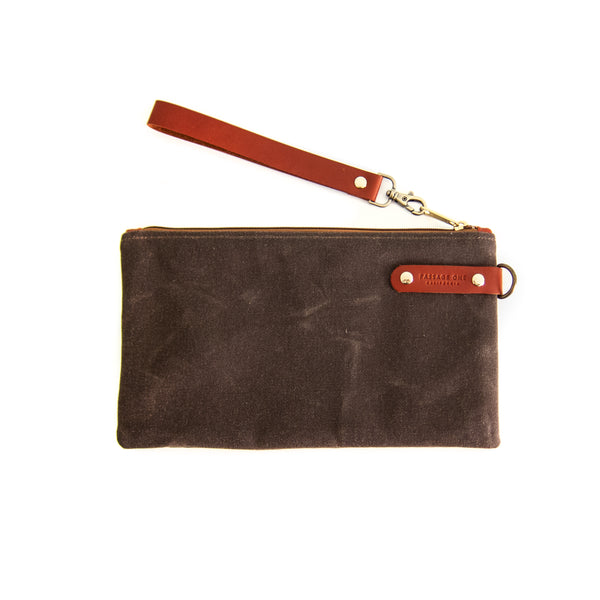 Airporter Clutch - Dark Brown Waxed
