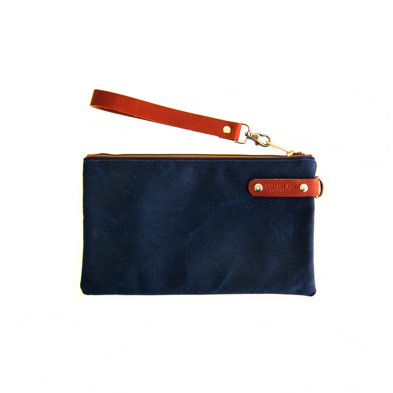 Airporter Clutch - Navy Waxed