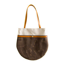 Amsterdam Market Tote - Natural + Dark Brown Waxed