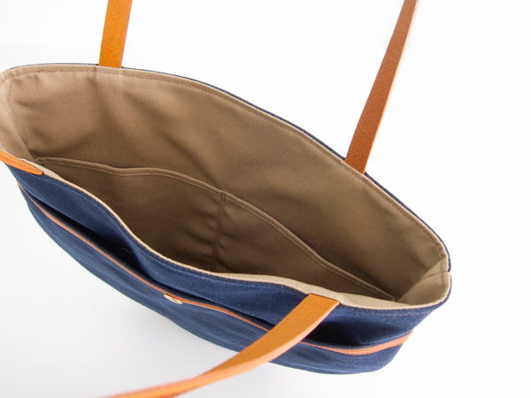 Amsterdam Market Tote - Natural + Navy Waxed