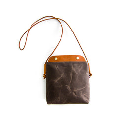 Bahamas Crossbody Bag - Dark Brown Waxed