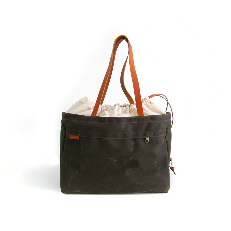 Cabo Tote Bag - Natural + Olive Waxed