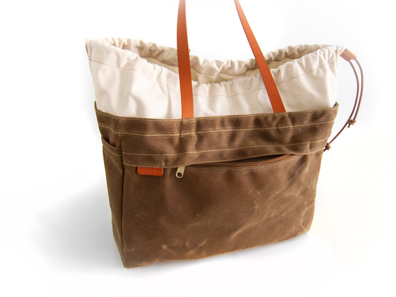 Cabo Tote Bag - Natural + Dark Brown Waxed