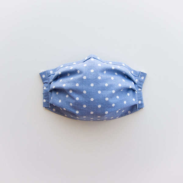 Adult Reusable Face Mask - Blue Polka Dot