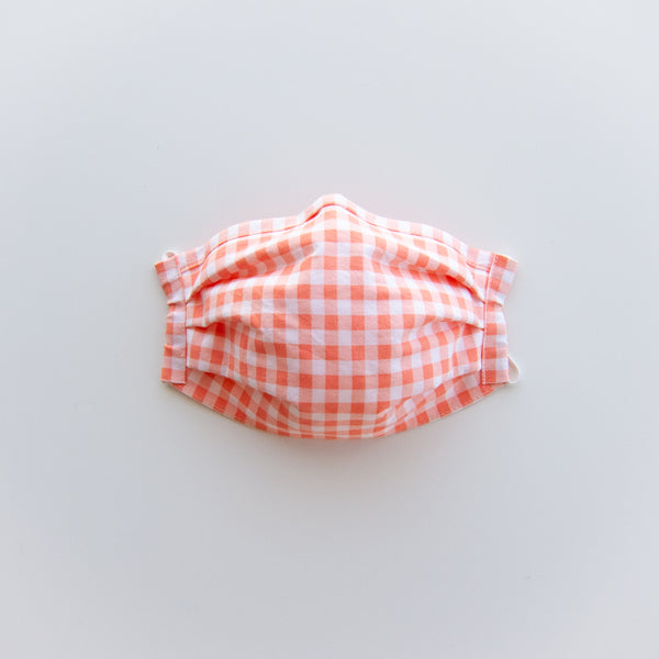 Adult Reusable Face Mask - Coral Gingham