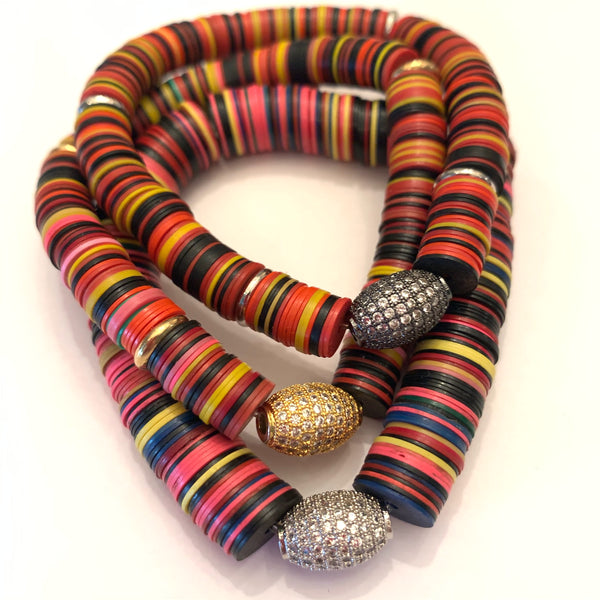 Vintage African Plastic Disc Beads with a Sterling & CZ Ball