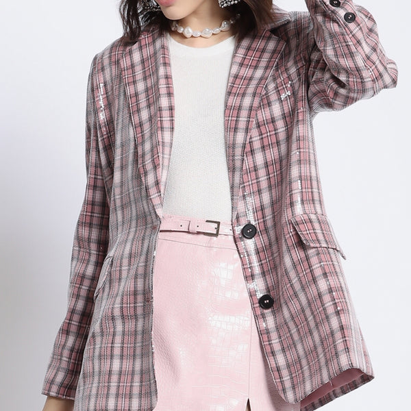 Brandy Sequin Blazer Pink