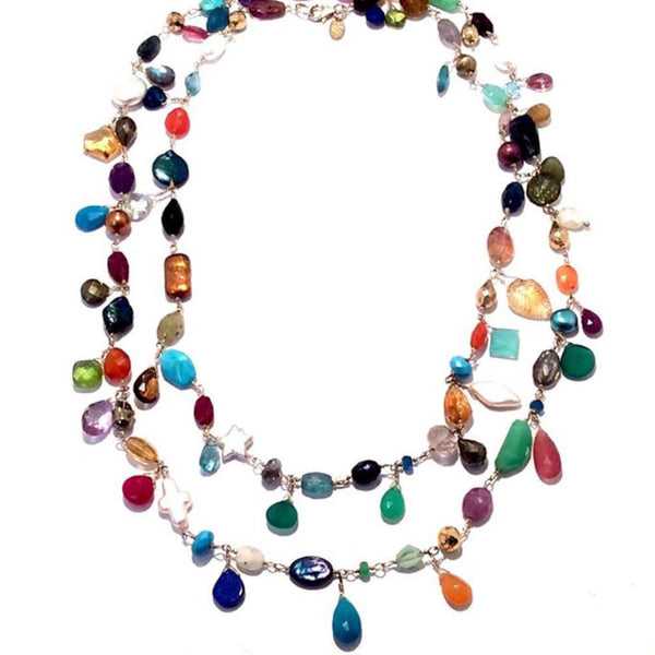 Semi Precious Extra Long Necklace-Sale 1/2 Off