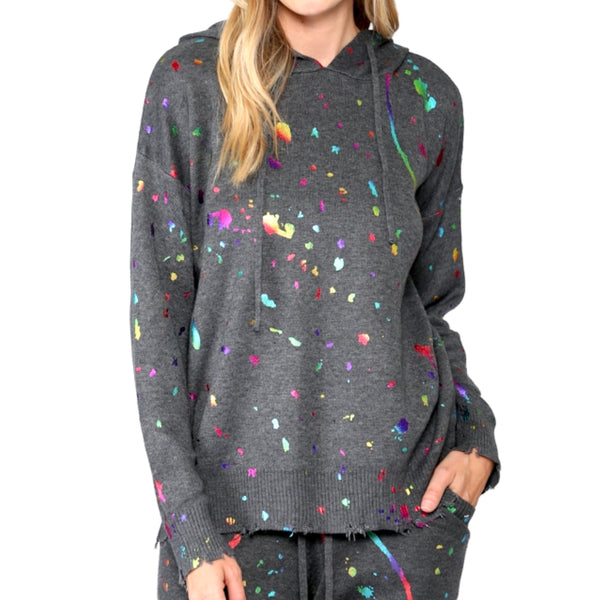 Metallic Splatter Paint Sweater