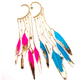 Gilded Color Feather Ear Hooks