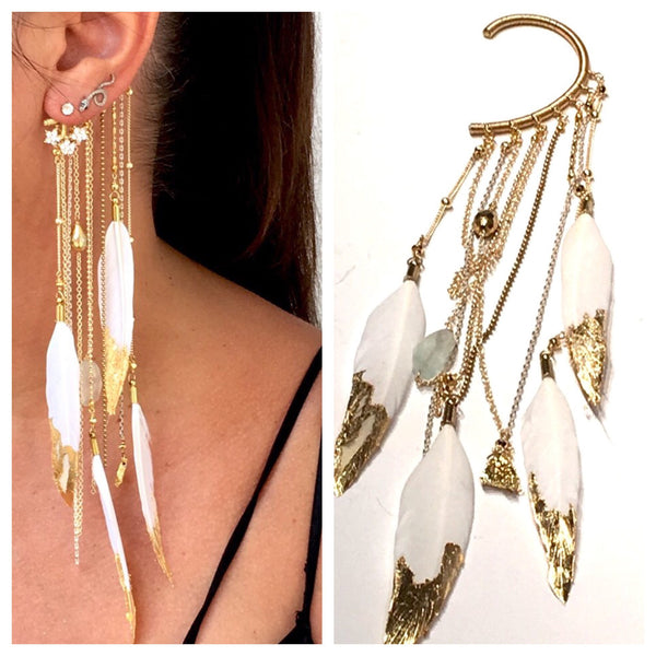 White Gilded Feather Ear Hook