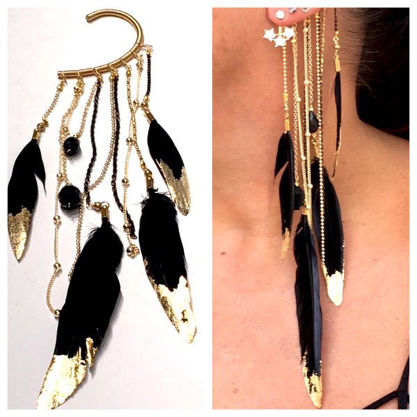 Black Gilded Feather Ear Hook