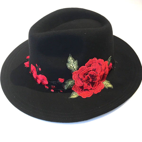 Rose Patch felt Fedora