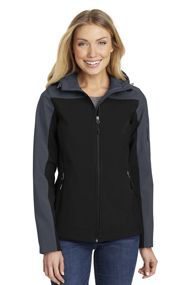 LADIES HOODED CORE SOFT SHELL JACKET W/ LOGO LEFT CHEST