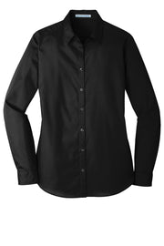 LADIES Long Sleeve Carefree Poplin Shirt W/ LOGO LEFT CHEST