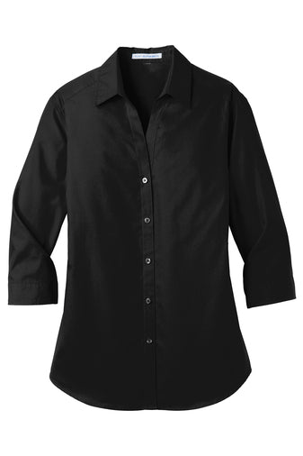 LADIES 3/4-Sleeve Carefree Poplin Shirt W/ LOGO LEFT CHEST