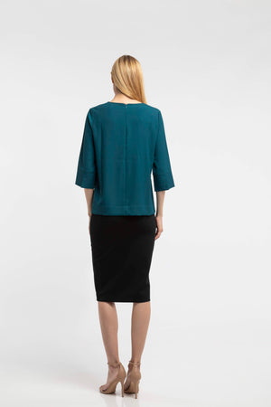 Below The Knee Pencil Skirt - Black