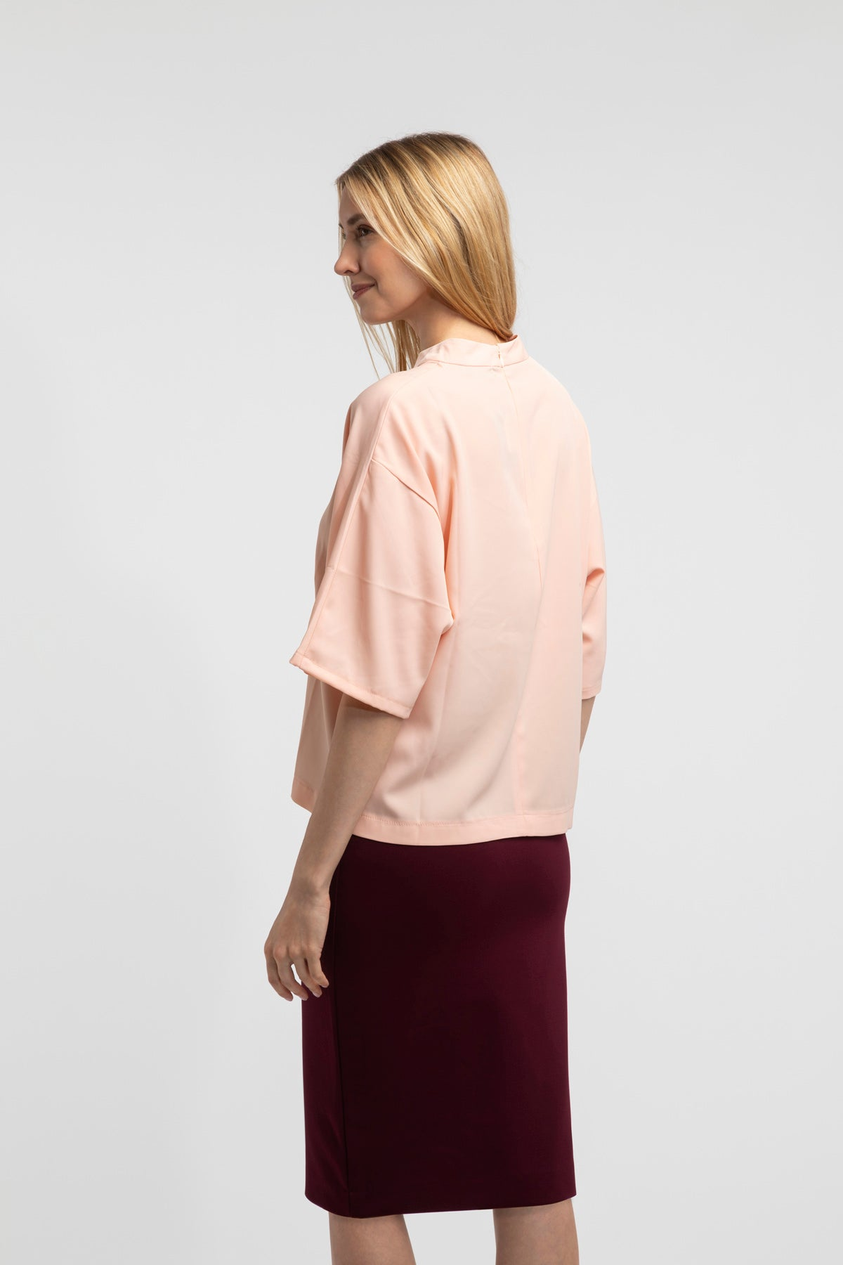 Drape Mock Neck Blouse - Peach