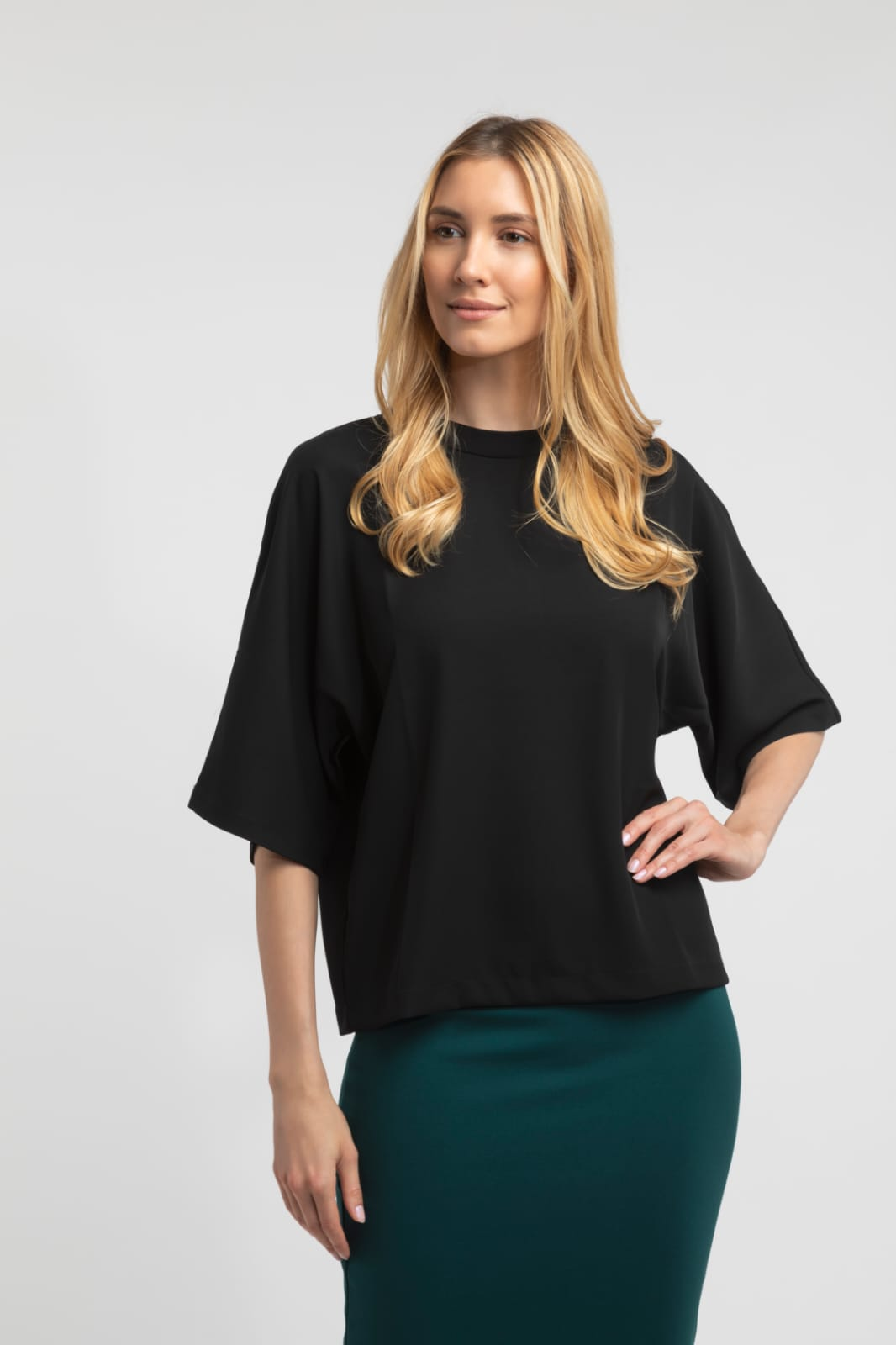 Drape Mock Neck Blouse - Black