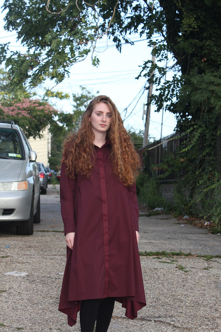 Asymmetrical Burgundy Cheap Affordable Modest Dress Clothing