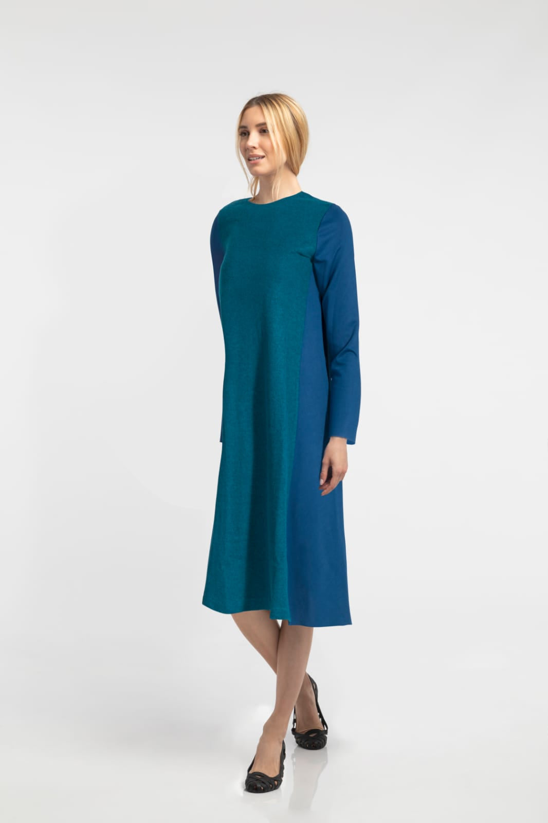 Two-Tone Dress - Blue/Green