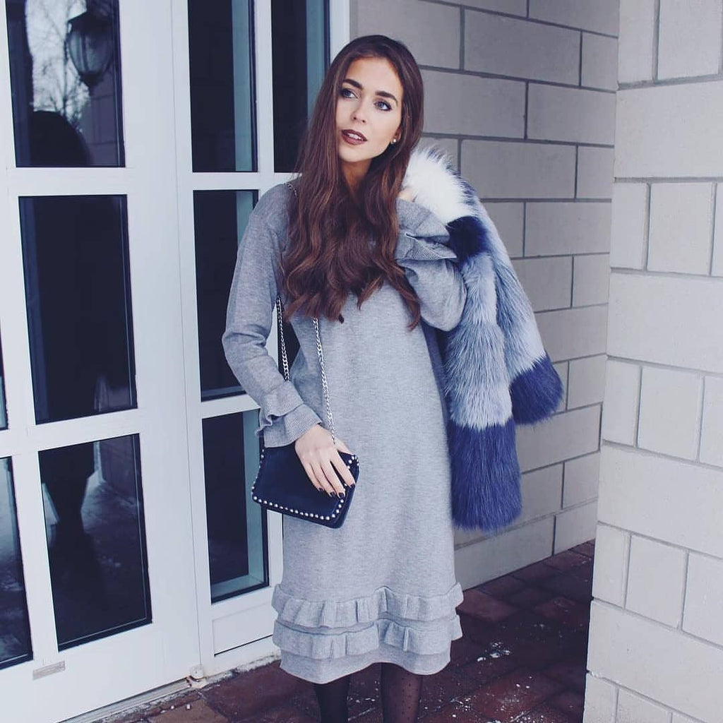 Grey Sweater Ruffle Dress - FINAL SALE