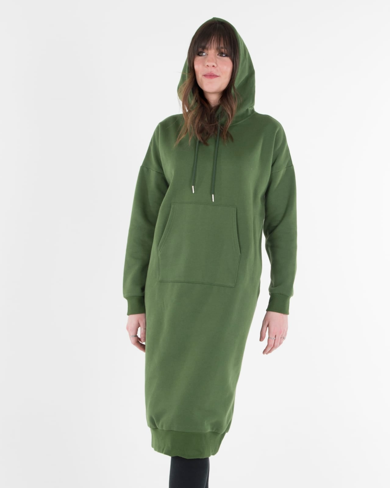 women's green sweatshirt dress with pockets and nursing zippers Cheap Affordable Modest Dress Clothing