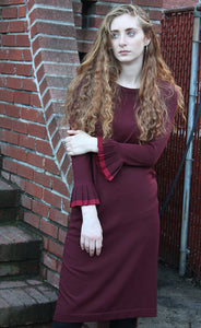 Maroon Pleated Sleeve Dress - FINAL SALE