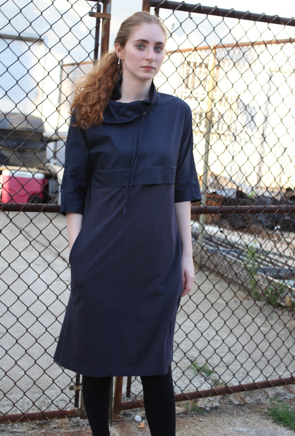Navy High Neck Dress - Blue - FINAL SALE