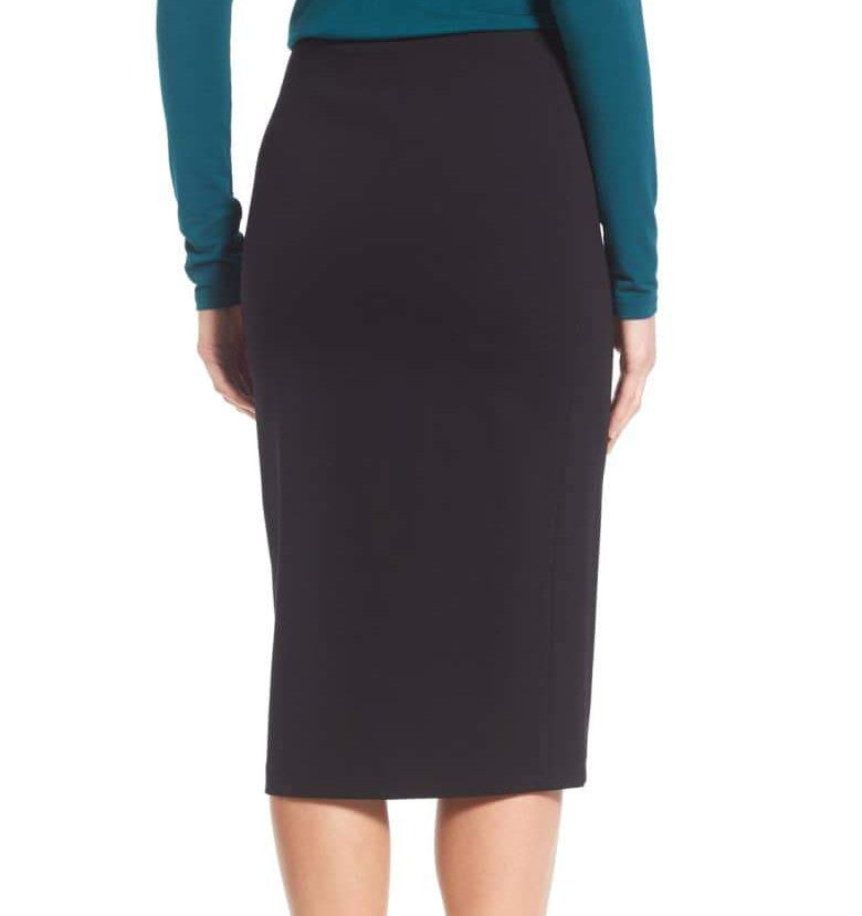 Below The Knee Pencil Skirt - Navy