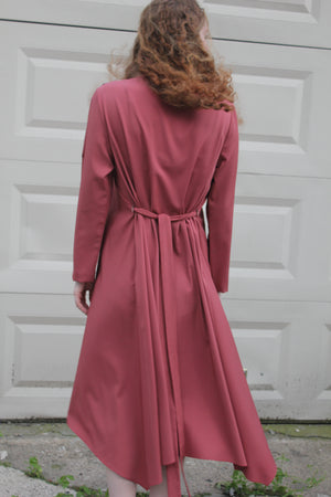 womens pink modest dress with zippers on side for nursing