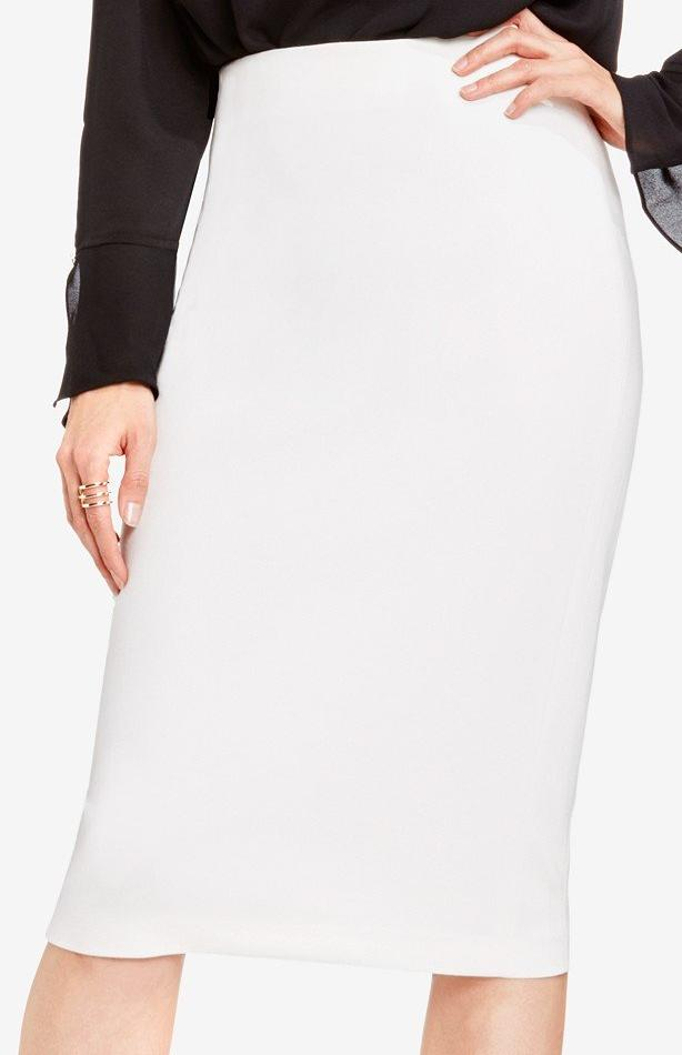 Below The Knee Pencil Skirt - White